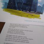 """Frisch gedruckt: """"Freiburg – ein Gedicht"""", Lyrikkarten mit Ortsbezug. Text von Sylvia Schmieder, kolorierte Urban-Sketching-Zeichnungen von Ulrich Birtel."""